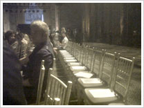 Empty chairs at the Gulnara Karimova fashion show.