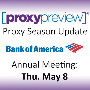 Proxy Season Update: Bank of America