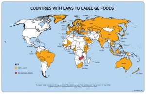 A map of the 64 countries around the world that already require GMO labeling. Source: Center for Food Safety